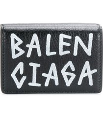 balenciaga carry mini graffiti wallet - black