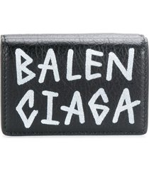 balenciaga carry mini wallet graffiti - black