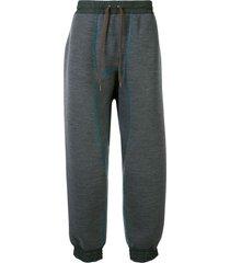 kolor baggy fit colour block track pants - grey
