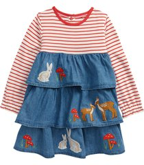 infant girl's mini boden stripe & applique tiered chambray dress