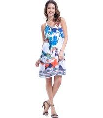 vestido 101 resort wear curto evas㪠de alã§as crepe estampado folhas coloridas - azul/branco/laranja - feminino - dafiti