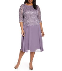 plus size women's alex evenings mock two-piece tea length dress, size 18w - purple