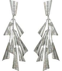 natori silver platedss fringe clip earrings, women's