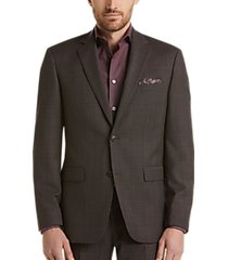 perry ellis premium charcoal windowpane slim fit tech suit