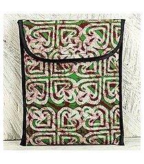 cotton batik ipad case, 'akoma heart' (ghana)