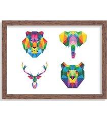 quadro decorativo animais abstrato colorido madeira - grande