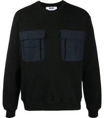 msgm contrast-pocket cotton sweatshirt - black