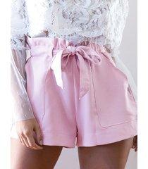 shorts con cintura lazada y tiro alto sweet en rosa