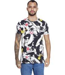 camiseta sideway looney tunes frajola & piu piu - preto/branco