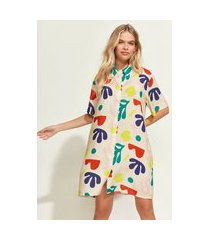 vestido chemise feminino mindset obvious oversized curto estampado de folhagem manga curta bege claro