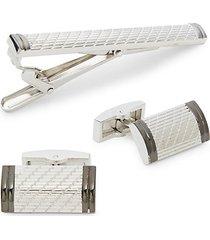 3-piece textured cufflinks & tie bar set