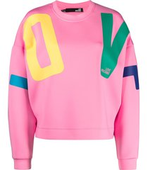 love moschino drop-shoulder sweatshirt - pink