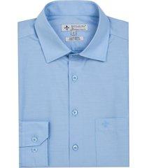 camisa dudalina manga longa tricoline lisa masculina (azul medio, 48)