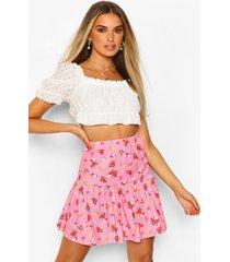 mini-rok met bloemetjes en ruches aan de zoom, roze