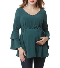 women's kimi and kai stevie peasant maternity blouse, size medium - green
