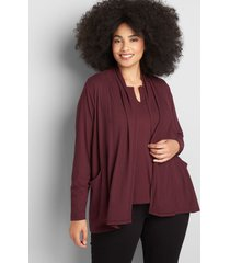 lane bryant women's open-front cardigan with pockets 26/28 winetasting