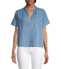 madewell women's denim splitneck top - blue - size s