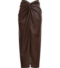 nanushka brown vegan leather long skirt