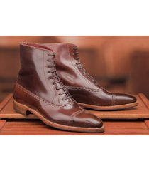 handmade men's brown leather boots, handcrafted men lace-up cap toe leather boot