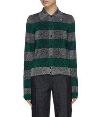 point collar stripe lurex knit cardigan