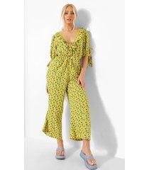 bloemen culotte jumpsuit met laag decolleté en mouw strikjes, yellow