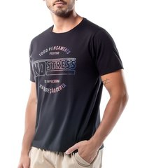 camiseta estampa logo no stress preta - kanui