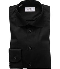 overhemd eton effen zwart contemporary fit