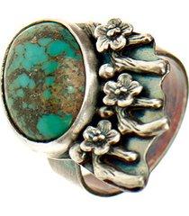 srebrny pierścionek z turkusem kwiaty a723