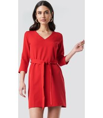 trendyol basic belted dress - red