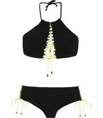 amir slama lace up bikini top - black