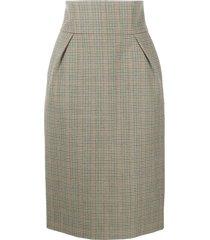 alexandre vauthier high-waist plaid skirt - green