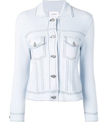 barrie chest pocket fitted cardigan - blue