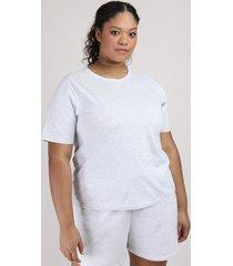 t-shirt feminina plus size mindset manga curta decote redondo cinza mescla claro