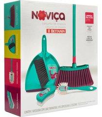 conjunto de limpeza noviça com 5 peças com 1 pá, 3 escovas e 1 vassoura fácil verde