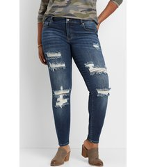 maurices plus size jeans womens kancan™ dark wash destructed skinny jeans blue