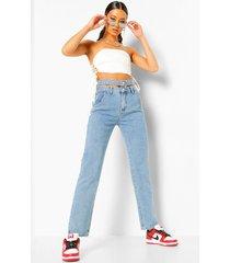 boyfriend jeans met uitgesneden taille band, vintage blue