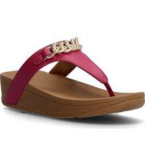 lottie chain toe-thongs shoes summer shoes flat sandals röd fitflop
