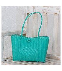 recycled plastic tote handbag, 'bright morning' (guatemala)