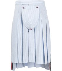 thom browne seersucker stripe classic pleated skirt - blue