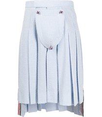 thom browne seersucker stripe classic pleated skirt - blue
