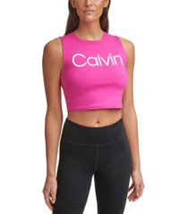 calvin klein performance cropped logo top