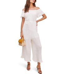 women's astr the label maura off the shoulder jumpsuit, size large - white