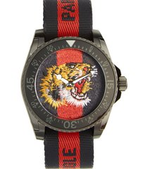 gucci tiger insignia web strap watch, 45mm in blue/red/blue at nordstrom