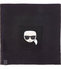 karl lagerfeld women's k/ikonik embroidery scarf - black