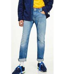 tommy hilfiger men's vintage wash slim fit jean denim light - 34/32