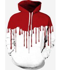 felpa con cappuccio donna a maniche lunghe patchwork di stampa sanguigna di halloween