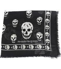 alexander mcqueen skull motif silk blend scarf