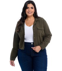 camisete plus size cambos cropped verde militar
