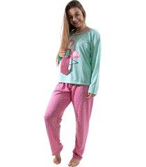 pijama 4 estaã§ãµes flamingo verde e rosa tapa olho manga longa comprido - rosa - feminino - poliã©ster - dafiti