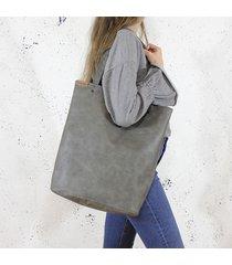 shopper xl torba szara na zamek